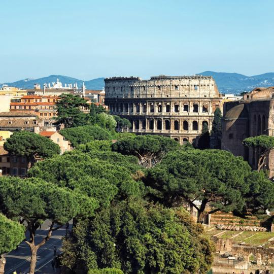 Stemningsfuld solnedgang fra Roms Palatinerhøj