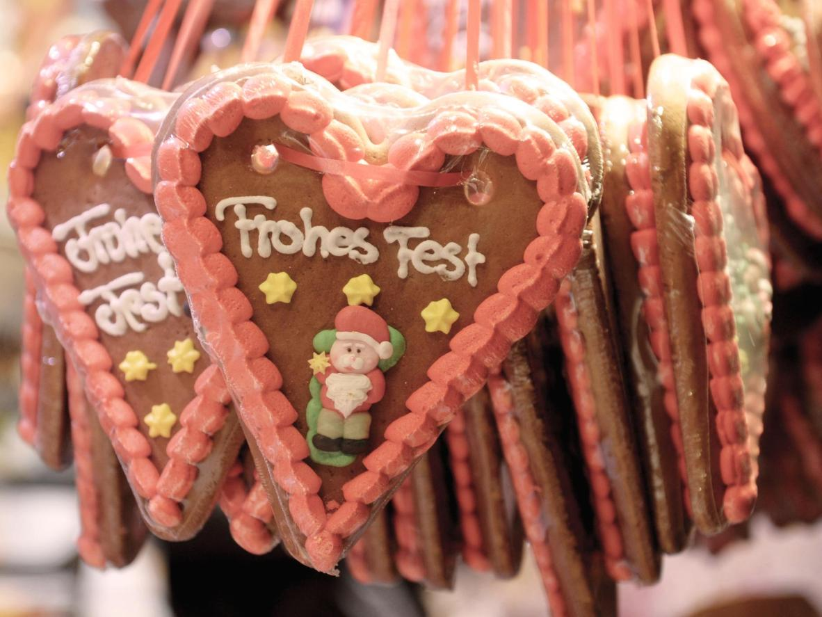 Hand-decorated gingerbread cookies at Stuttgart Christmas market