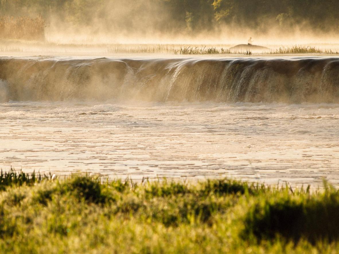 The Venta waterfall shrouded in mist, Kuldiga