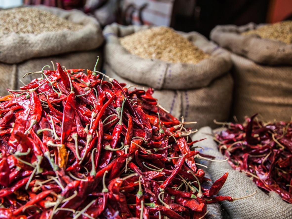 Chiles secos listos para preparar merkén