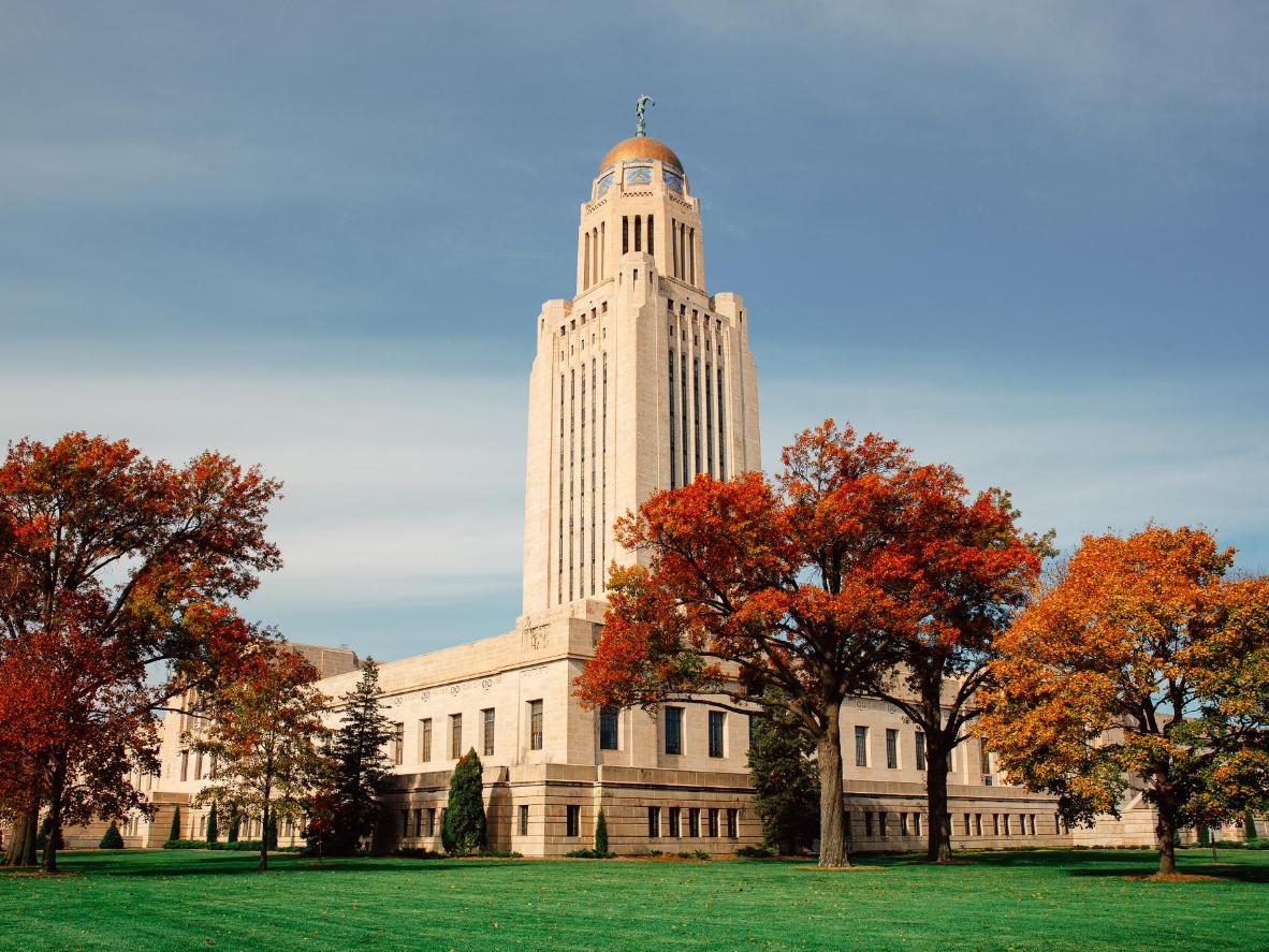 The Nebraska State Capitol building is located in downtown Lincoln