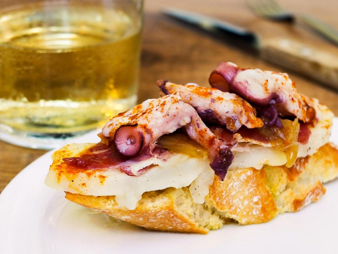 Tender octopus, smoked paprika and potato top this mouthwatering pintxo