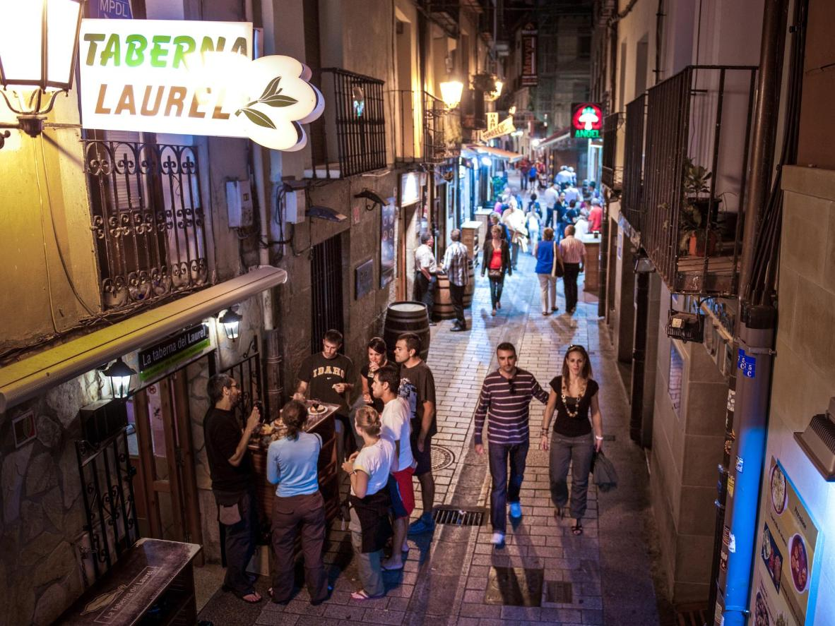 Join locals as they flit between tapas bars on Logroño's Calle Laurel