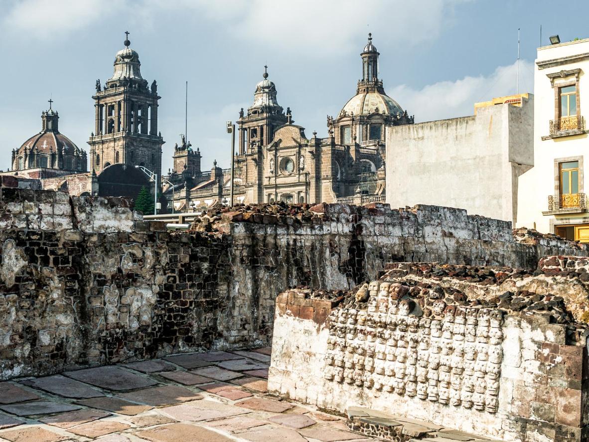 Las ruinas del Templo Mayor azteca, cerca de la catedral de Ciudad de México