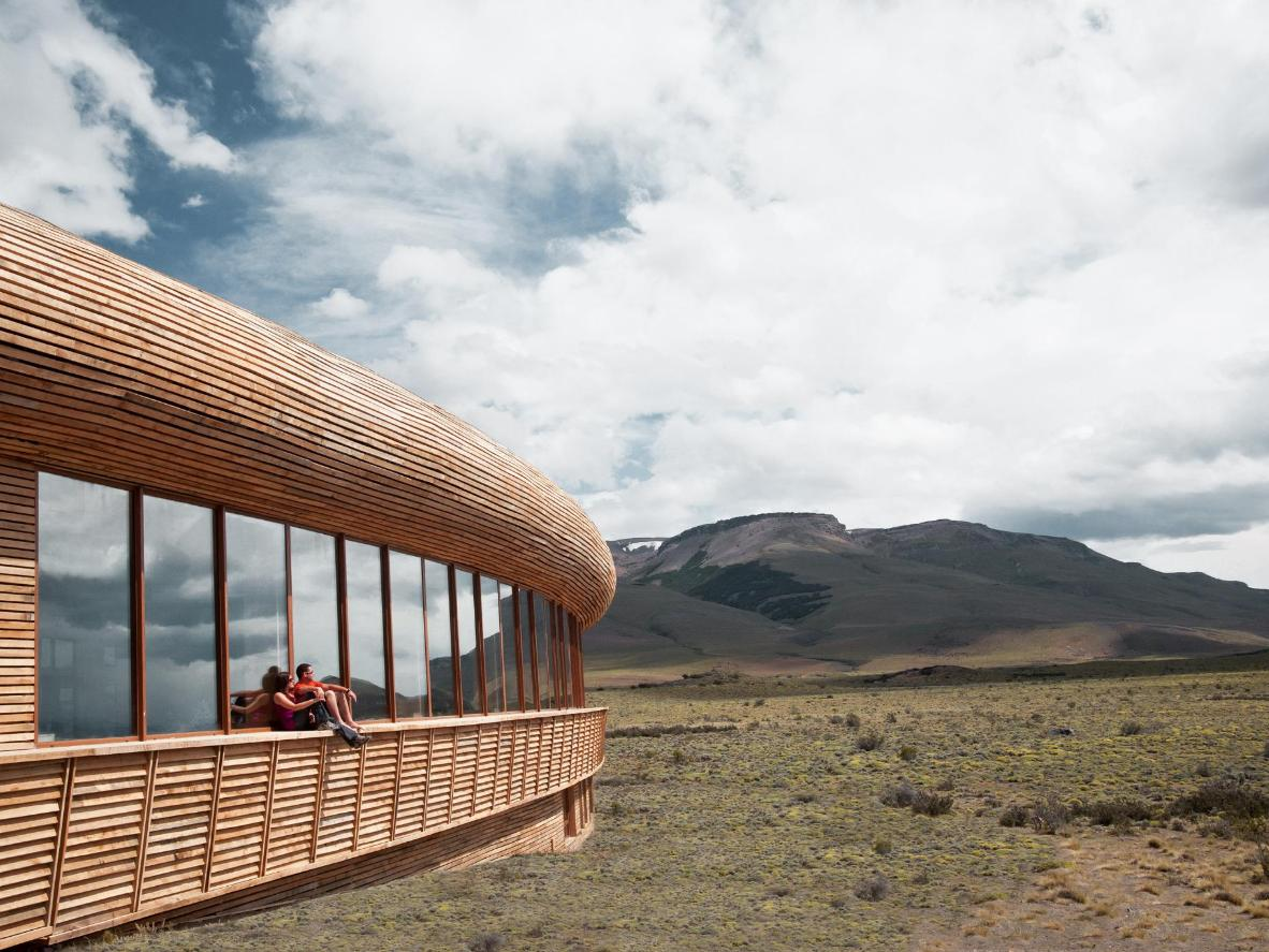 A hotel in the wilderness built with native lenga wood