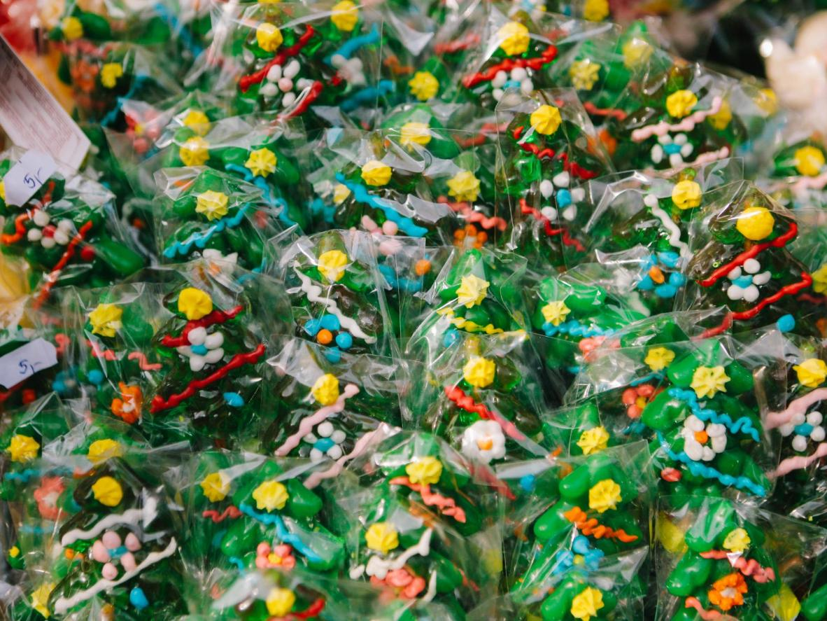 Hand-painted hard candy Christmas trees