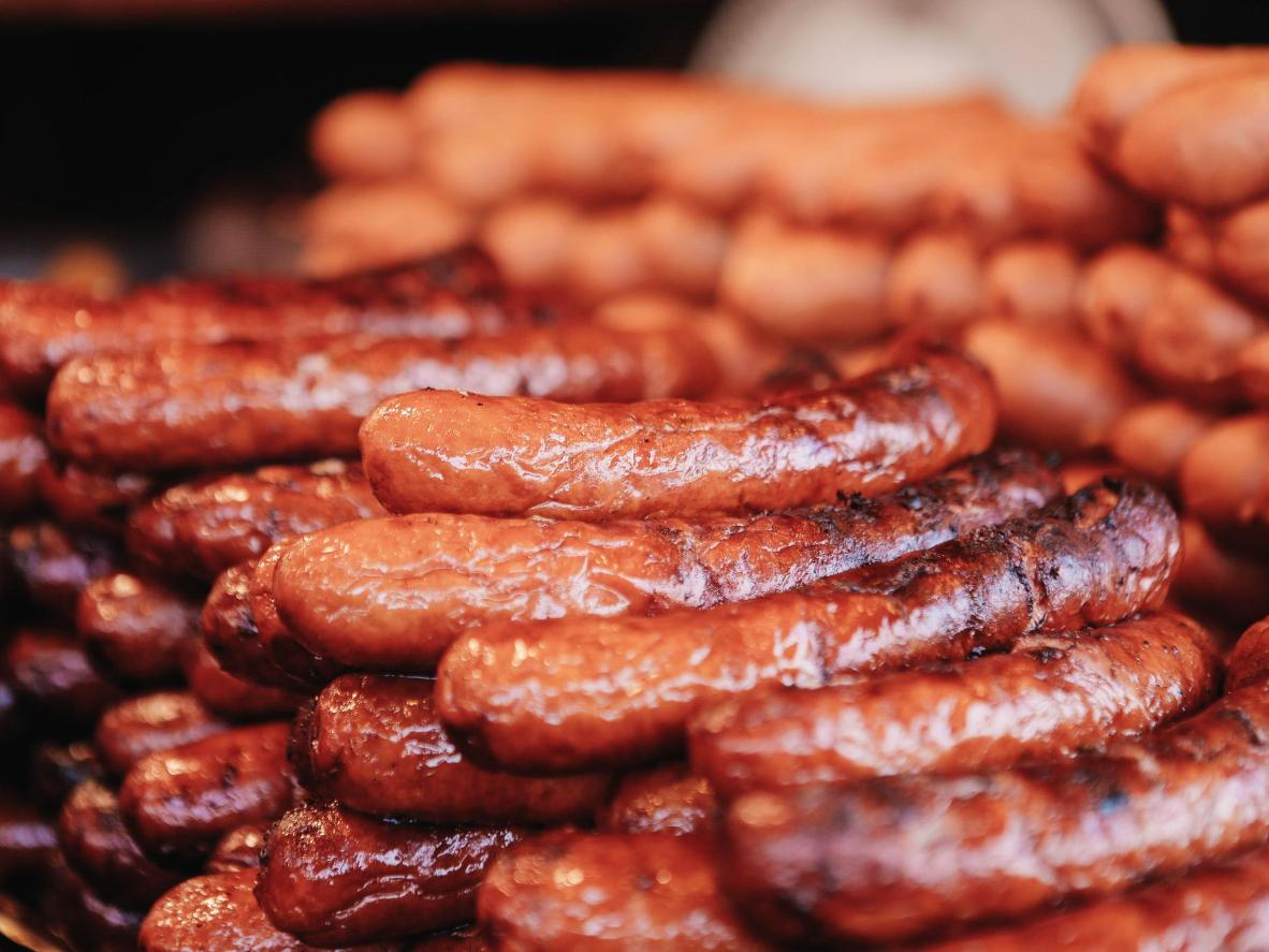 Just some of the sausages on offer at the market