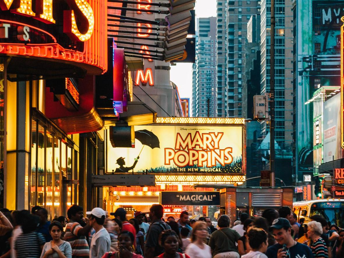 The bright lights of Times Square and Broadway, New York