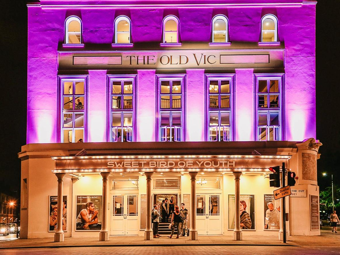 The colonnaded facade of the Old Vic, London