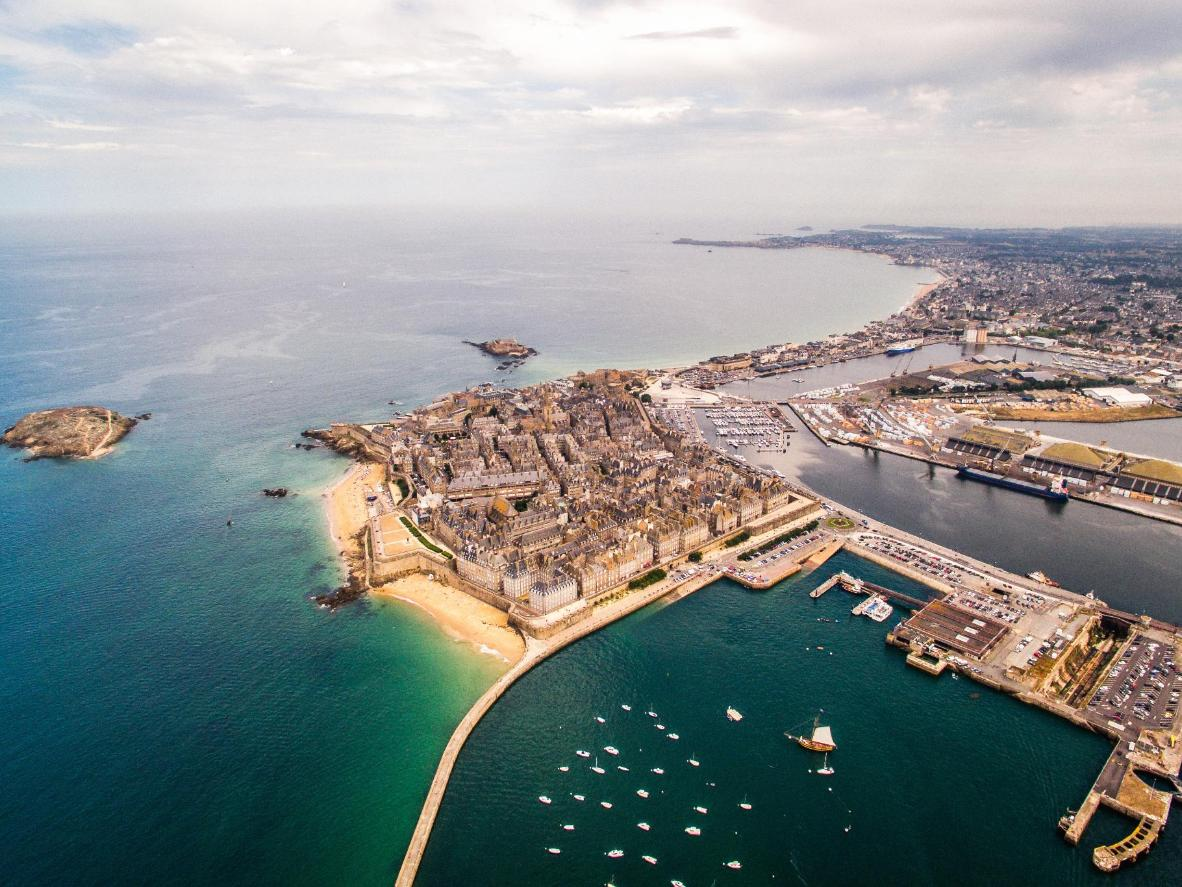 An aerial view of Saint Malo