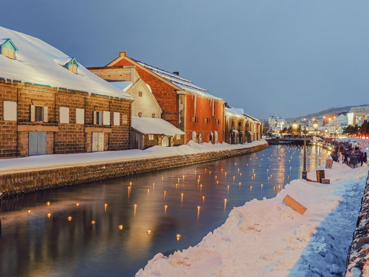 Otaru Canal on the opening day of the city's Snow Light Path Festival