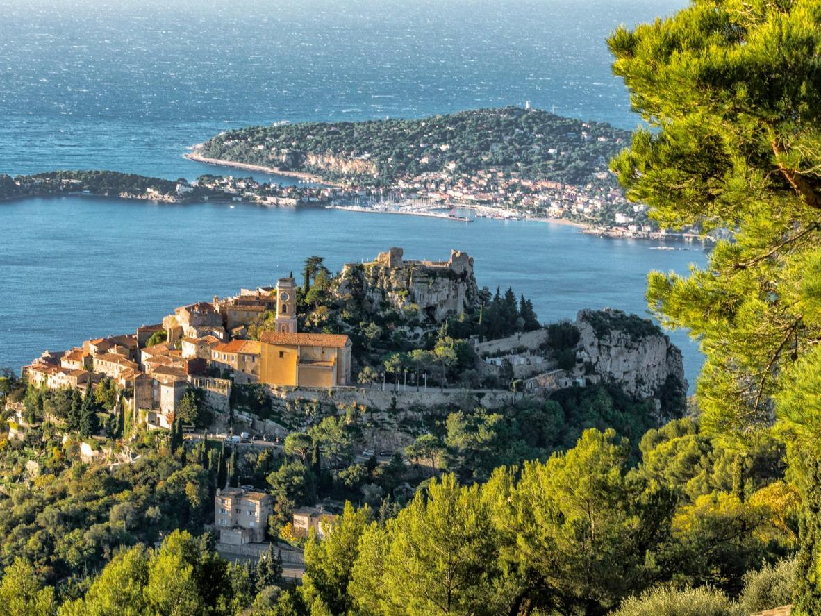 The hilltop village of Èze offers breathtaking views of the French Riviera