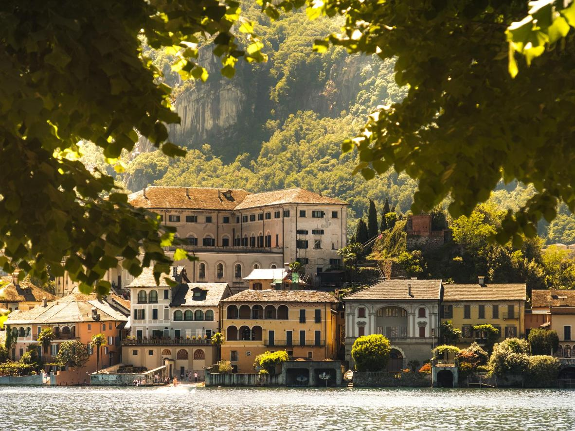 San Giulio Island sitting on the blue waters of Lake Orta