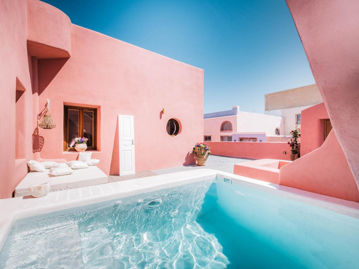 The infinitely-instagrammable color palette of Anemi House & Villas