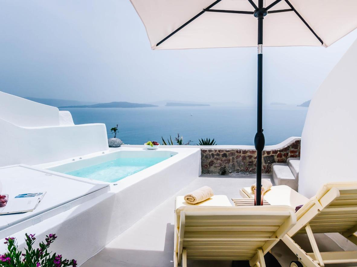 Cleo's Dream Villa is situated just below Santorini's famous blue-domed church