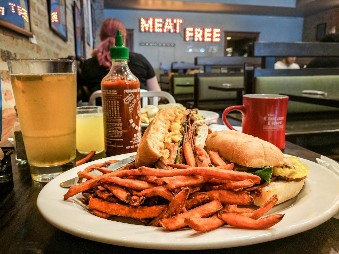 The Chicago Diner veggie burger and sweet potato fries