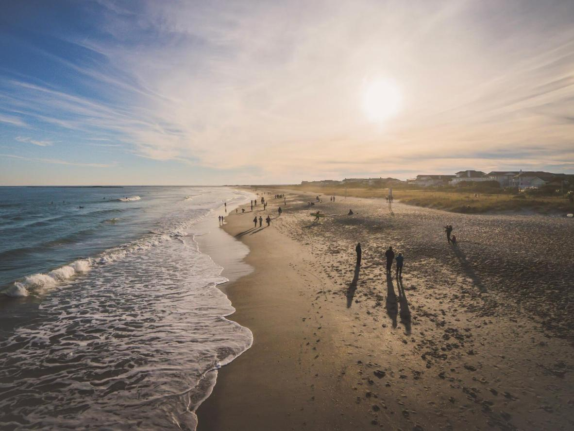Wrightsville Beach is a long, slender stretch of sand