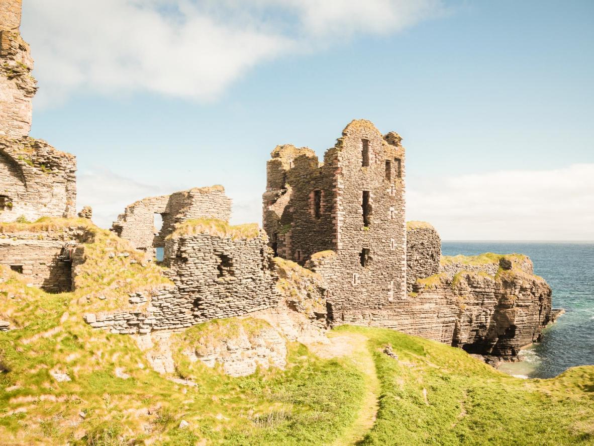 See the crumbling ruins of Castle Sinclair Girnigoe near John O'Groats