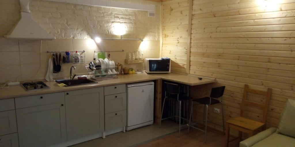 Кухня или мини-кухня в Apartment-studio on Ryleeva 15