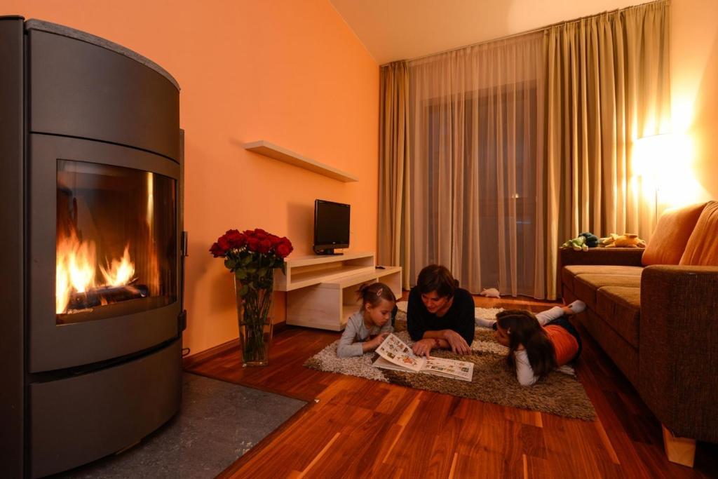 Televízia a/alebo spoločenská miestnosť v ubytovaní Apartmany Crocus