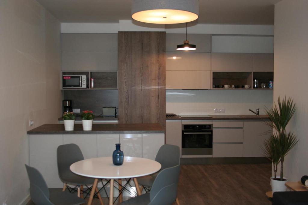 Küche/Küchenzeile in der Unterkunft Karlín Apartment