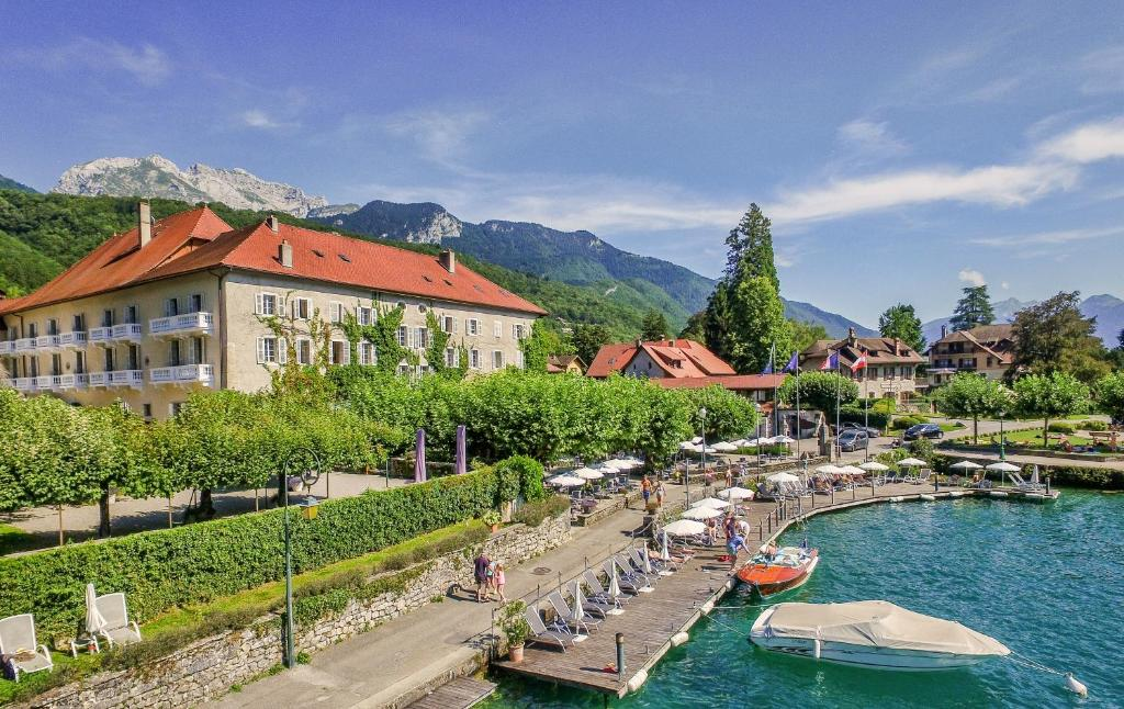 A view of the pool at Abbaye de Talloires or nearby