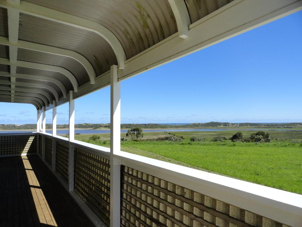A balcony or terrace at High View Family Cottages