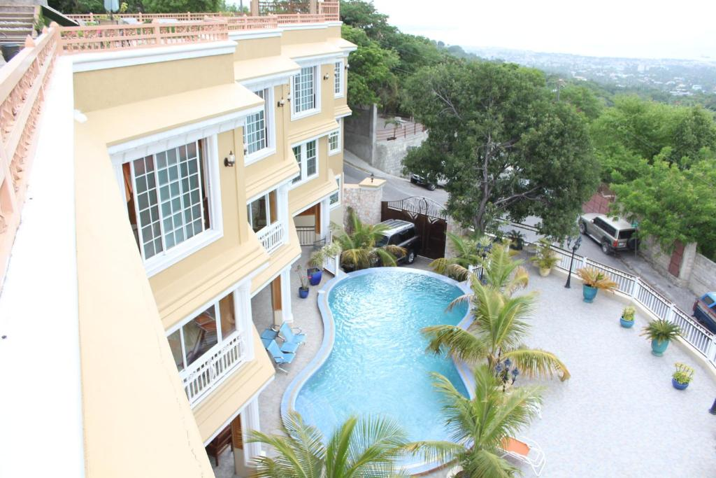 A view of the pool at Lebon Hotel or nearby