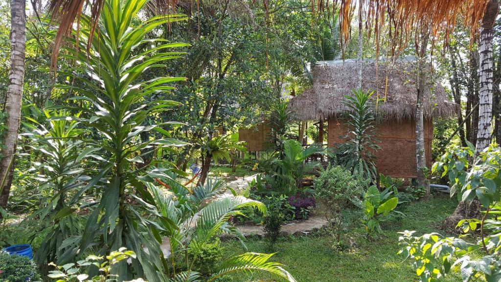 A garden outside Vanna's Bungalows