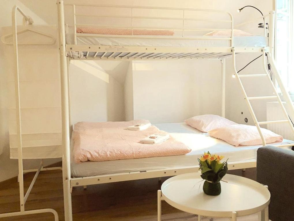 A bunk bed or bunk beds in a room at Dormitory with View at Mozart House
