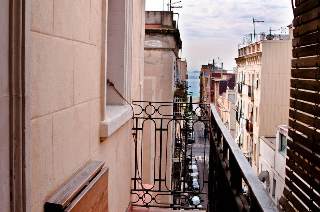 A balcony or terrace at Barceloneta Suites Apartments Beach