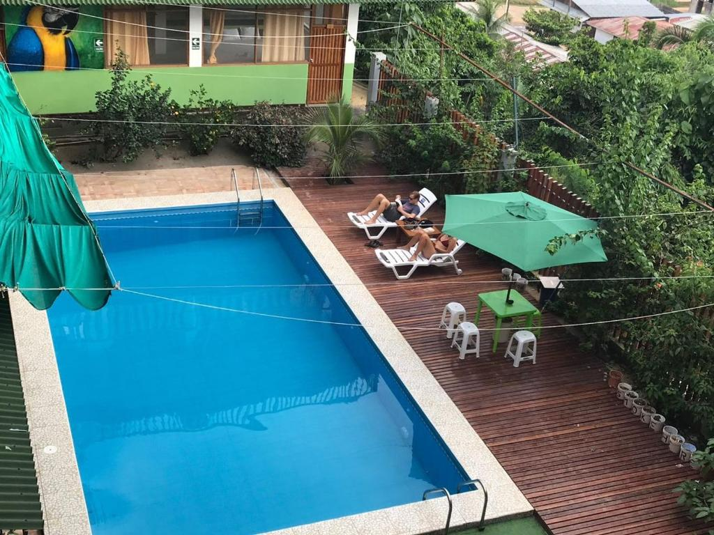 A view of the pool at Tambopata Hostel or nearby