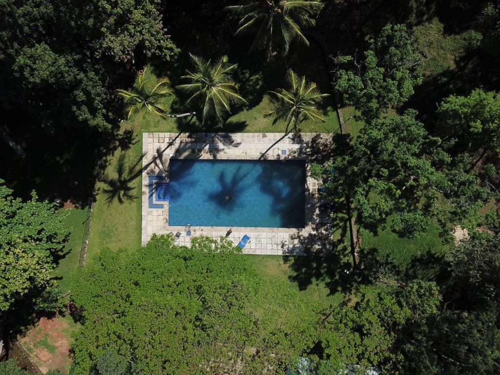 Výhled na bazén z ubytování Dambulu Oya Family Park nebo okolí