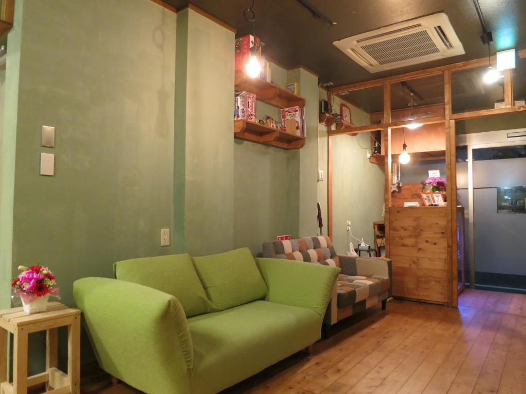 A seating area at No Borders Hostel