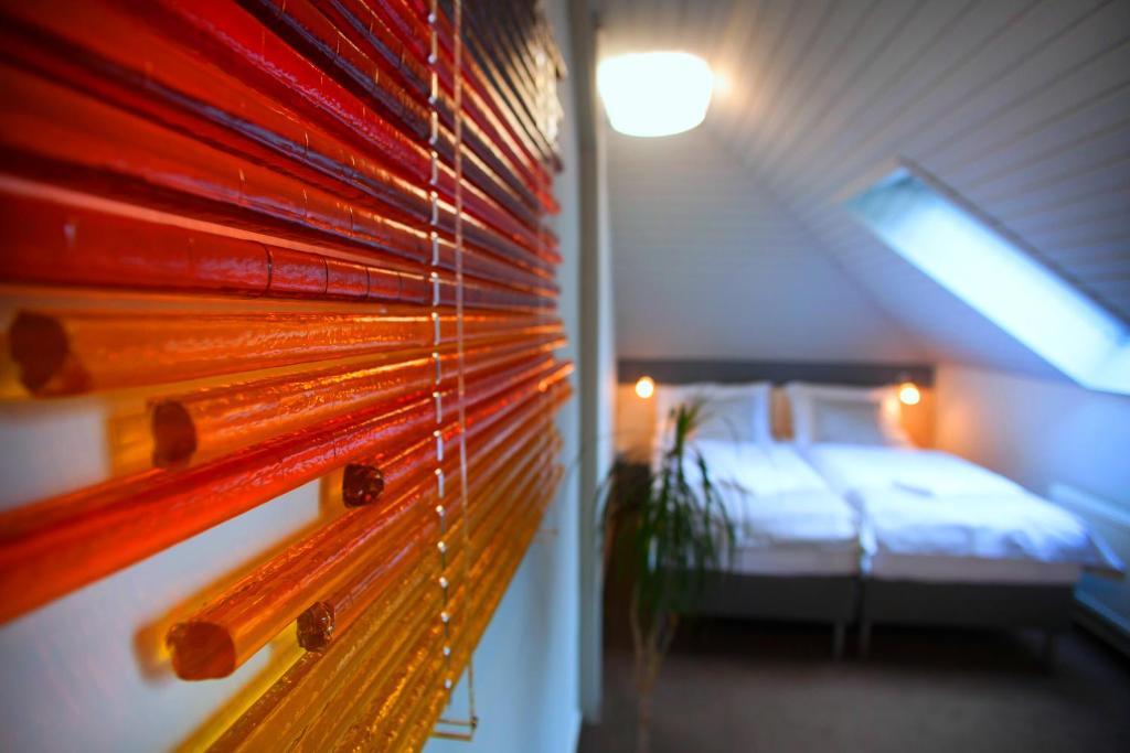 Postel nebo postele na pokoji v ubytování Pension Půlměsíc