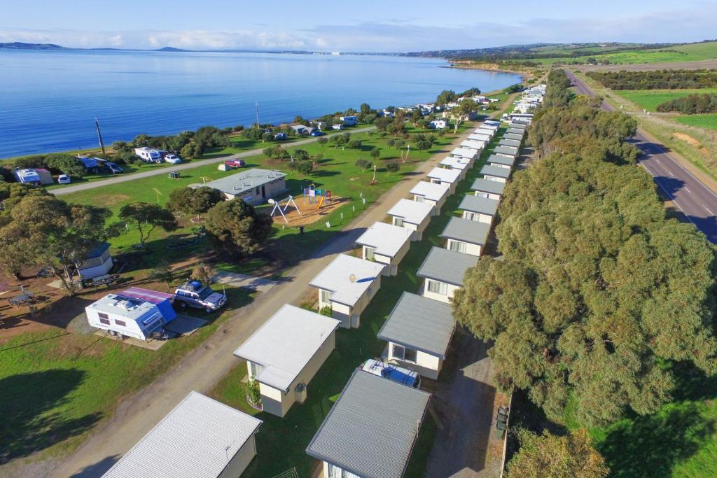 A bird's-eye view of Port Lincoln Caravan Park