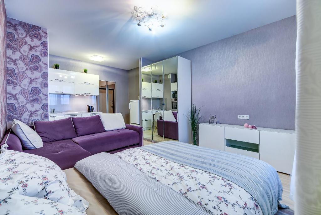 Кровать или кровати в номере Modern studio