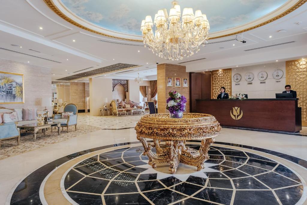 The lobby or reception area at Tulip Inn Al Khan Hotel