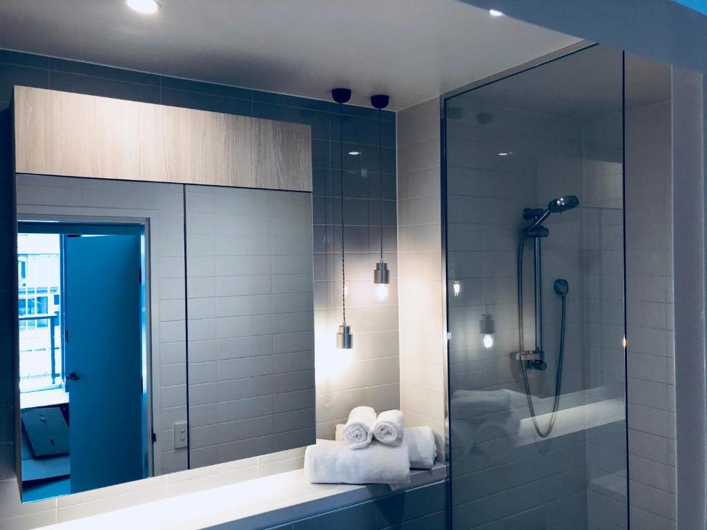 A bathroom at *super* one bedroom