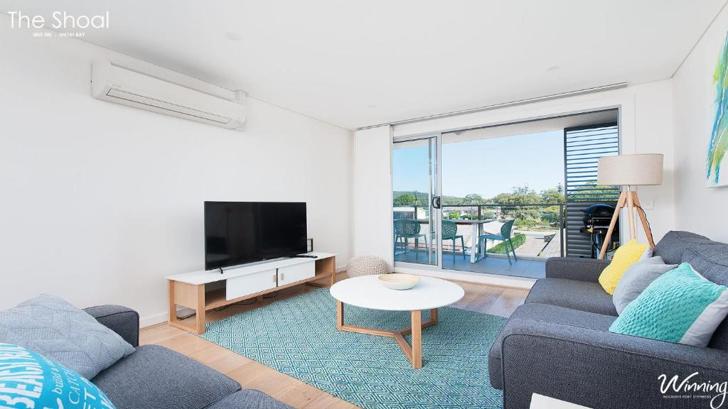 A seating area at The Shoal Apartments, Unit 202/4-8 Bullecourt Street
