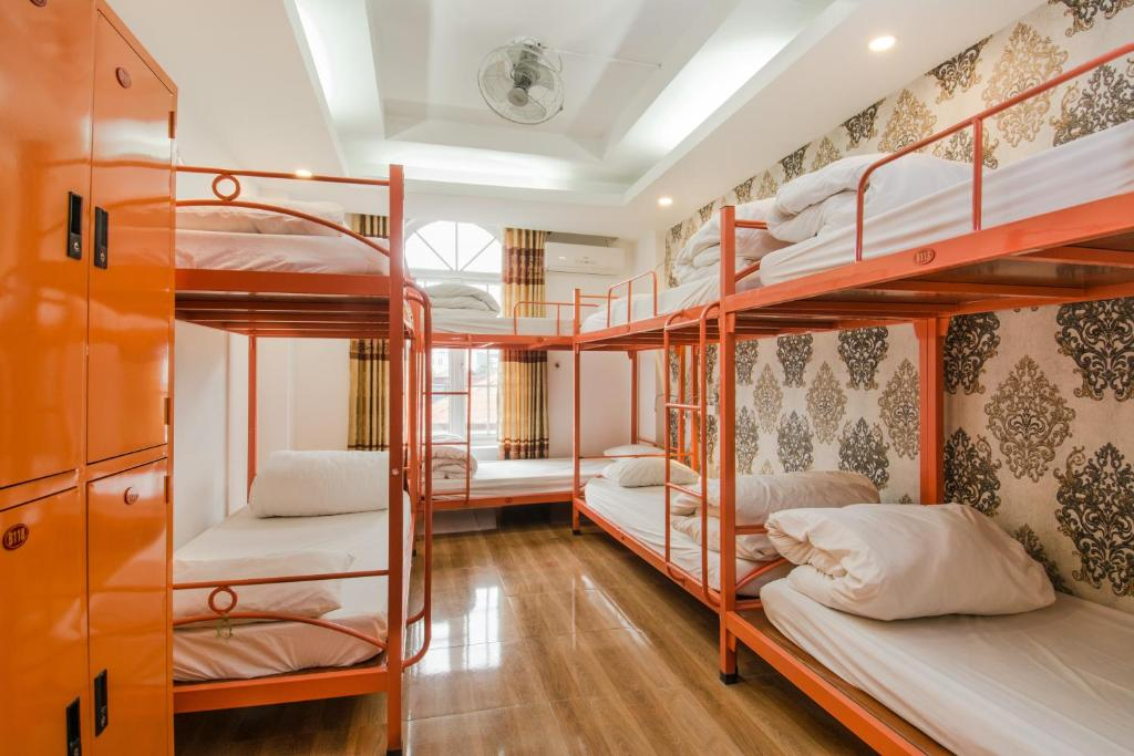 A bunk bed or bunk beds in a room at Hanoi Central Backpackers Hostel