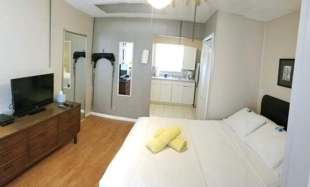 A television and/or entertainment center at INN LEATHER GUEST HOUSE-GAY MALE ONLY
