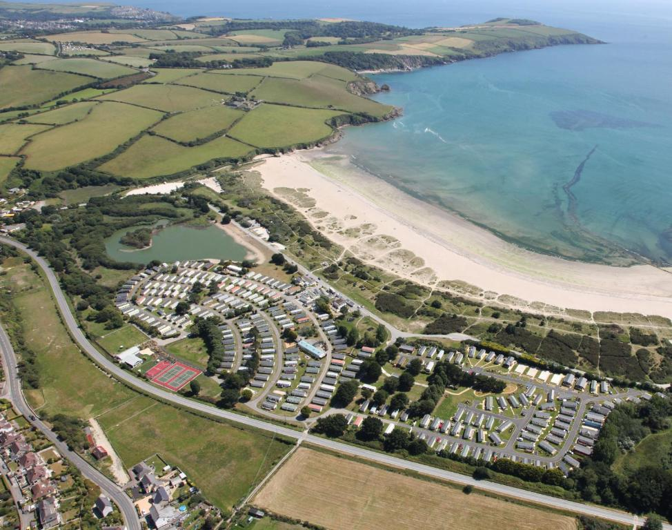 A bird's-eye view of Par Sands Coastal Holiday park