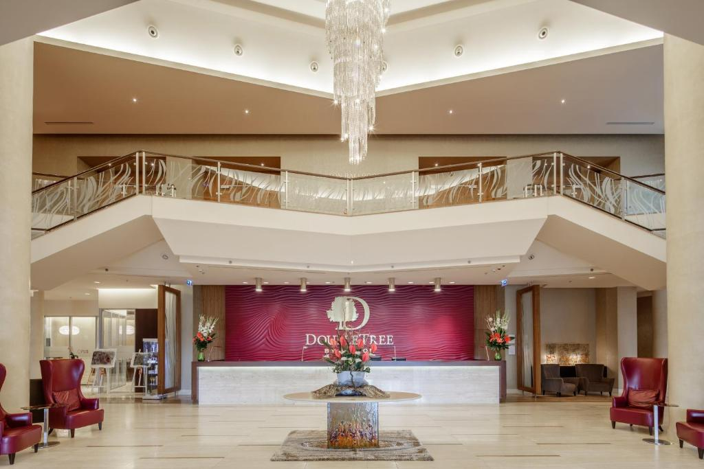 The lobby or reception area at DoubleTree by Hilton Bratislava