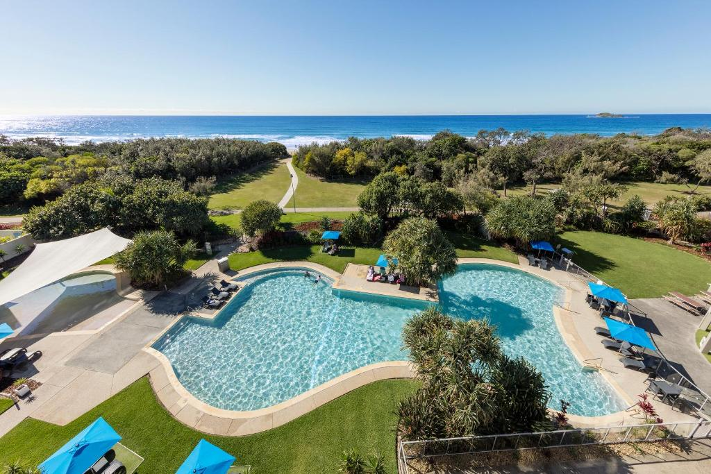 A view of the pool at Ramada By Wyndham Marcoola Beach or nearby