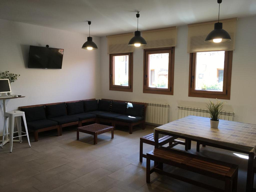 A seating area at Hornillos Meeting Point (Pilgrim Hostel)