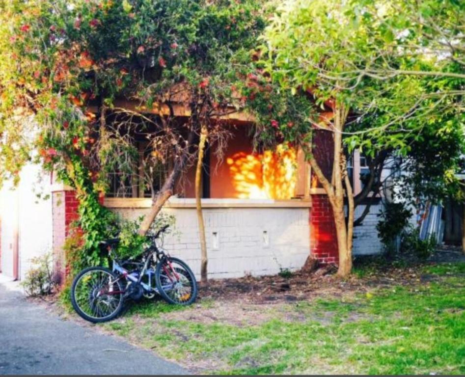 A garden outside St Kilda East backpackers' hostel