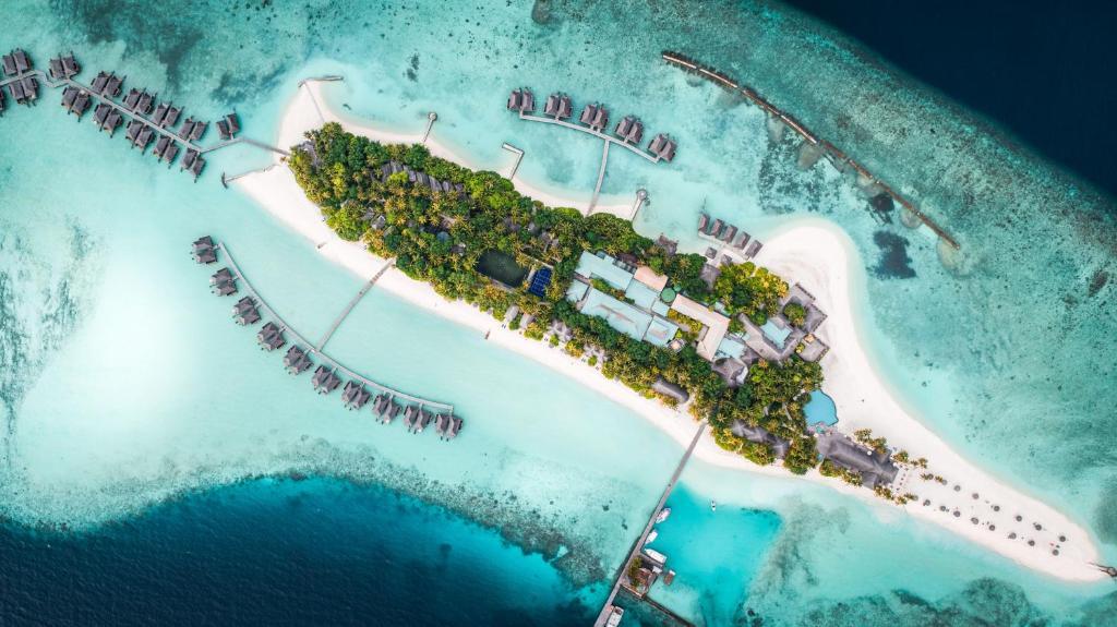 Blick auf Veligandu Island Resort & Spa aus der Vogelperspektive
