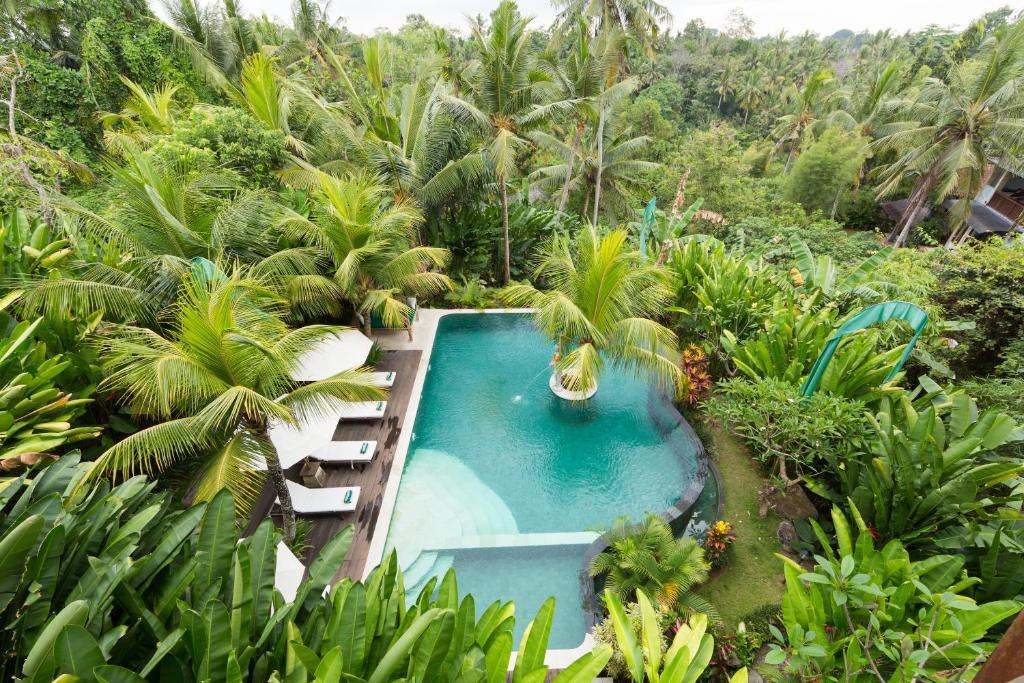 Uitzicht op het zwembad bij Alamdini Resort Ubud of in de buurt