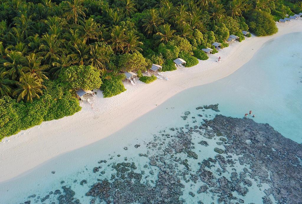 Een luchtfoto van Plumeria Maldives
